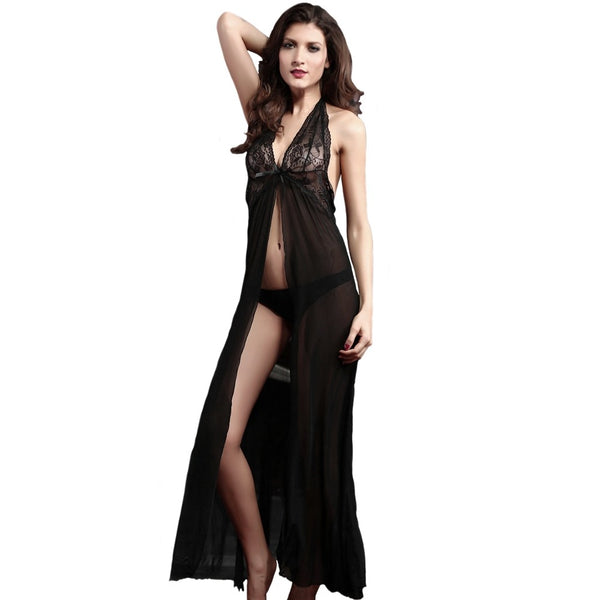Black Sheer Mesh Sexy Gown Set