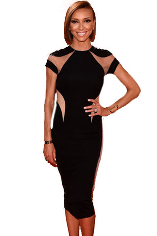 Mesh Detail Black Midi Dress