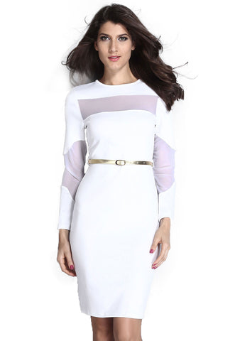 White Mesh Cut Out Midi Dress
