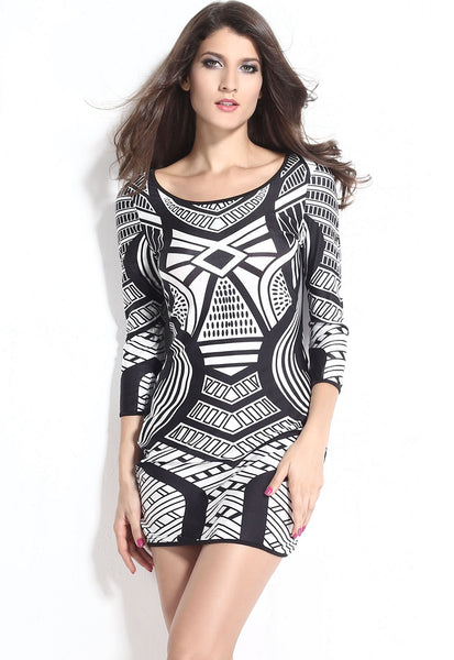 Sexy Mini Monochrome Print Dress