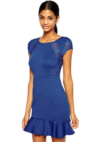 Pep Hem Skater Dress with Lace Inserts