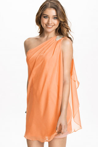 Orange Asymmetric Drape One Shoulder Mini Dress