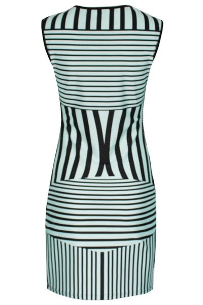 Striped Print Sleeveless Bodycon Dress