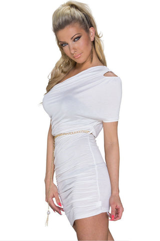 White Cut Out One Shoulder Plicated Bodycon Dress