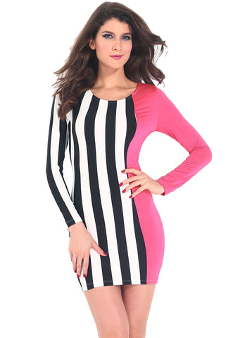 Stripes and Solid Bodycon Dress