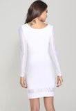 White Bodycon Dress with Spun Silver Sleeves