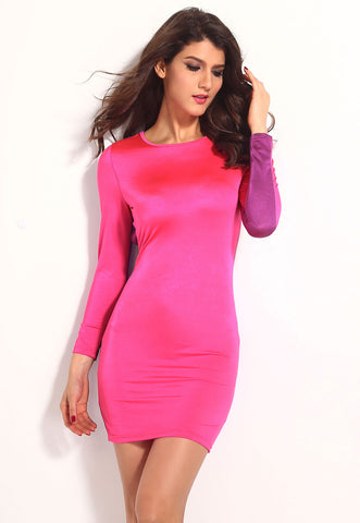 Chic Pink Purple Open Back Bodycon Dress