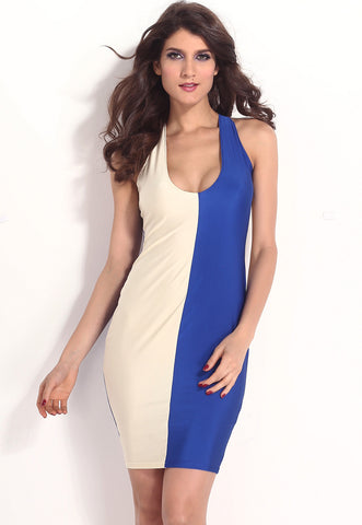 Beige Blue Block Plunging Neck Bodycon Dress