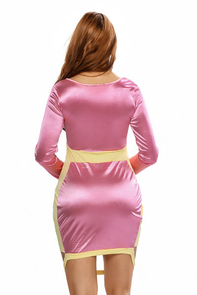 Shining Pink Yellow Party Bodycon Dress with Slit