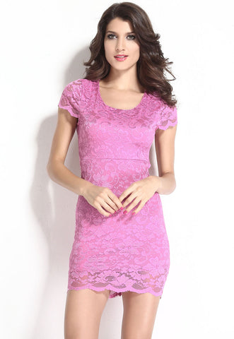 Fuchsia Enticing Lace Backless Bodycon Dress
