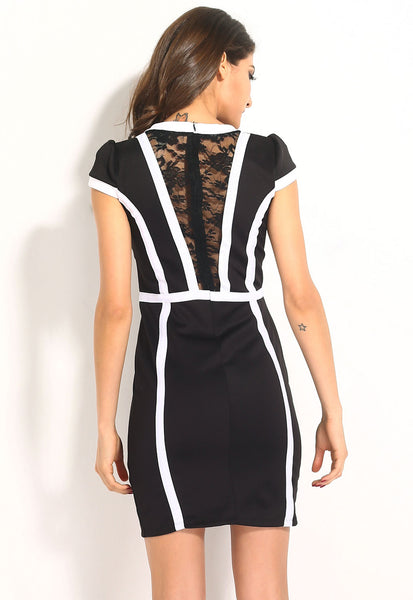 Contrast Trims Regular Fit Midi Dress