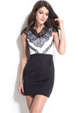 Eyelash Adorned Black White Bodycon Dress