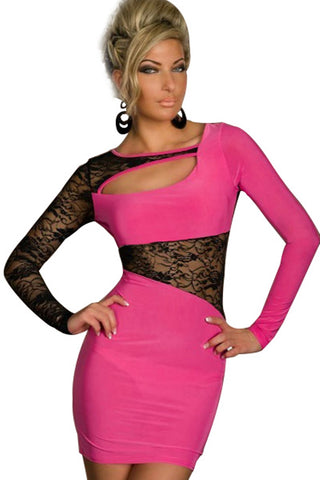 Pink Black Lace Design Dress