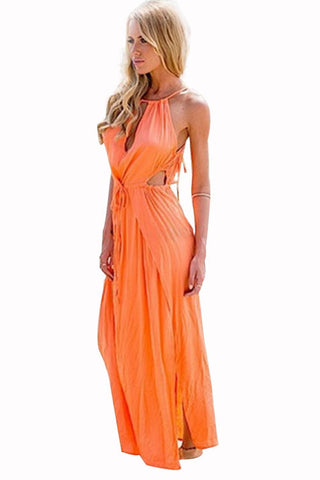 Open Side Tangerine Chiffon Beach Dress