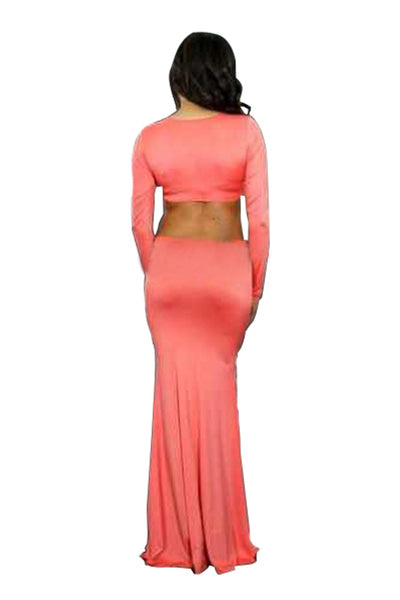 Long Sleeve Pink Sexy Maxi Dress