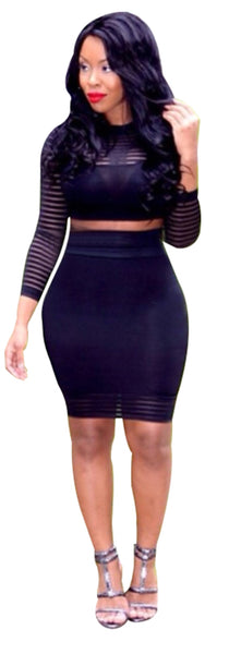 Black Long Sleeve Mini Bodycon Dress
