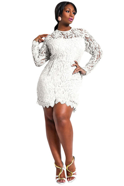 White Lace Long Sleeves Plus Size Women Romper Dress