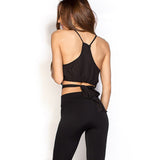Solid Black Concise Cross Front Crop Top