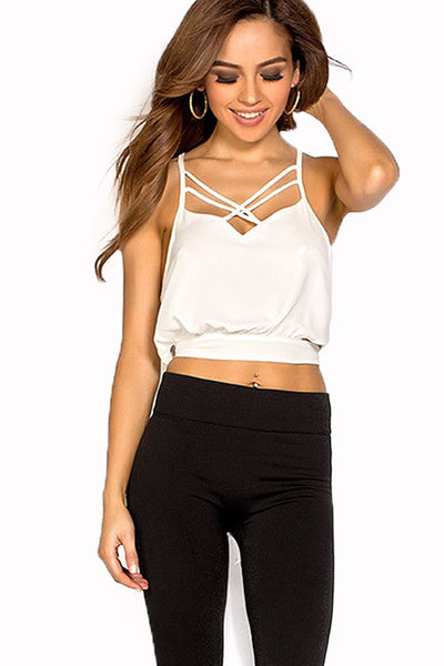 Solid White Concise Cross Front Crop Top