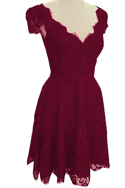 V Neck Red Lace Backless Party Dress
