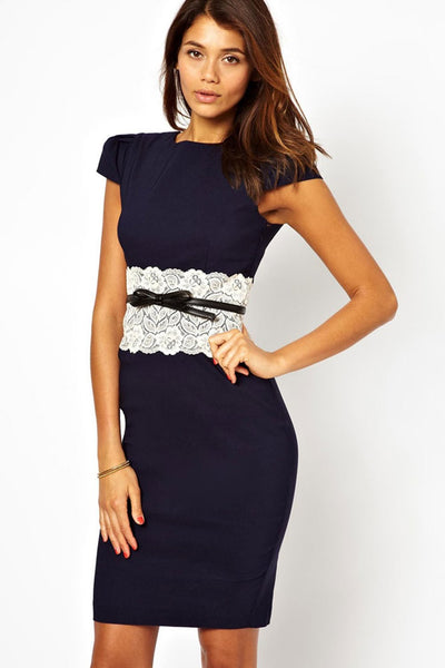 Navy Lace Waistband Midi Dress with Belt