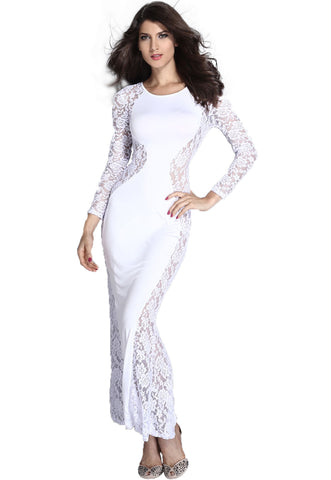White Lace Maxi Dress with Fish Tail Detail
