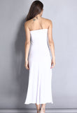 White Strapless Mesh Insert Convertible Maxi Dress