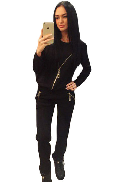 Black Zip Detail Casual Two Piece Pant Set