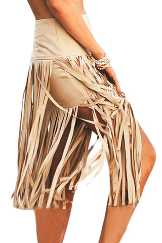 Khaki Polyester Skirt With Tassel