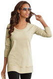 Khaki Scoop Neck Long Sleeve Sweatshirt