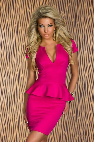 Pink Peplum Half Sleeve Mini Bodycon Dress