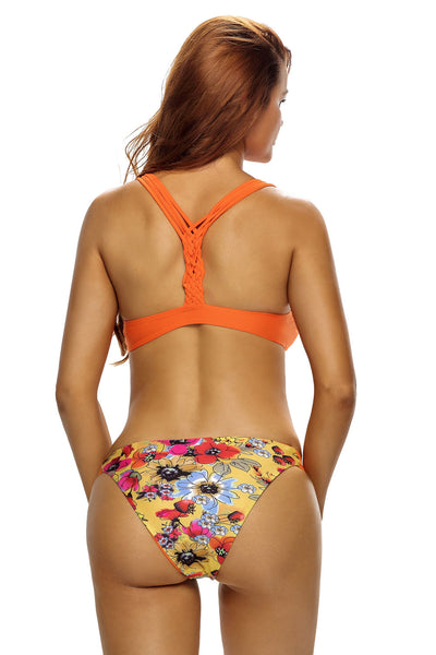 Low Neck Braid Racerback Floral Bottoms Bikini