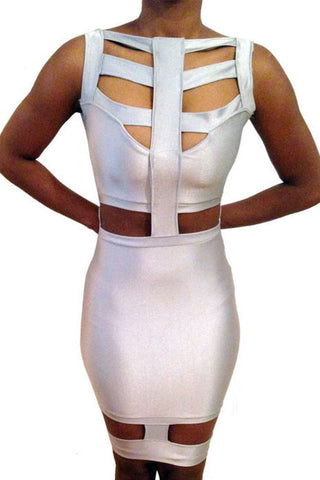 Metallic White Strappy Midi Dress