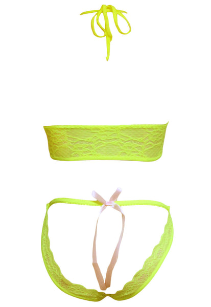 Neon Lace Bra and Crotchless Panty Set