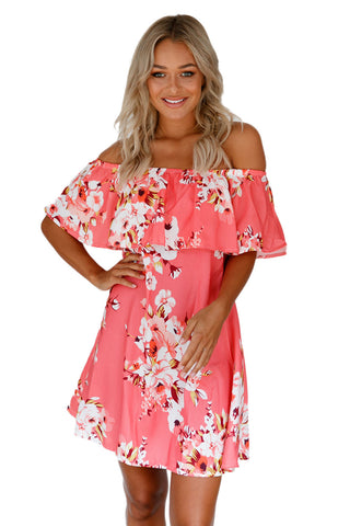 Orange Ruffle Off Shoulder Floral Boho Dress