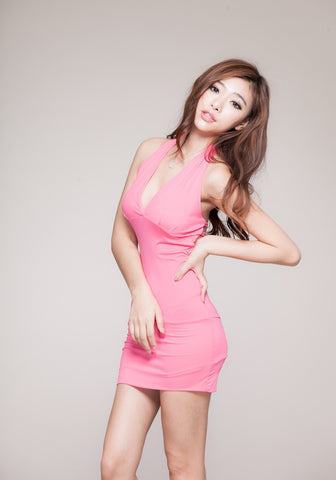 Sexy Baby Pink Short Mini Dress