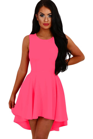 Rosy Pleated Hi-low Hem Sleeveless Skater Dress