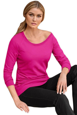 Rosy Scoop Neck Long Sleeve Sweatshirt