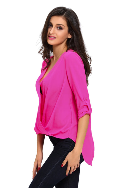 Rosy V Neck Ruffle Loose Fit Blouse Top