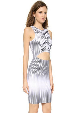 Sexy Cutout Maze Striped Print Dress