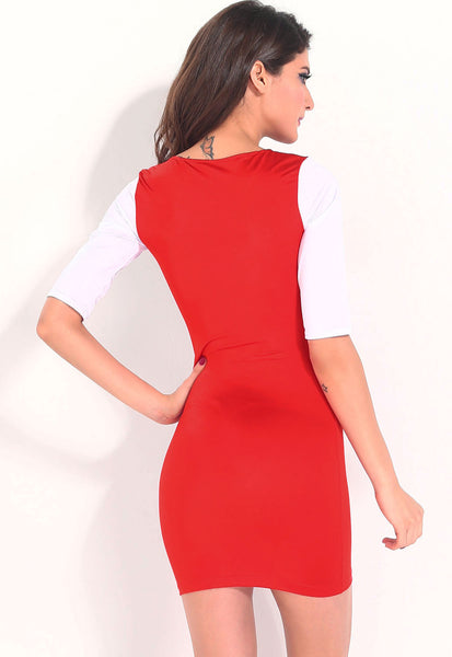 Stylish Sexy Multicolor Blocking Bodycon Dress