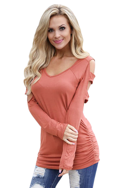 Tangerine Cut out Open Shoulder Ruched Side Blouse