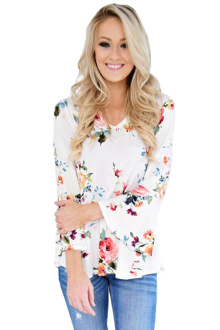 White Bell Sleeve Floral Print Top