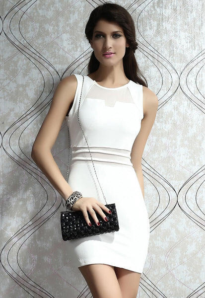 White Bodycon Mini Dress with Mesh Insert