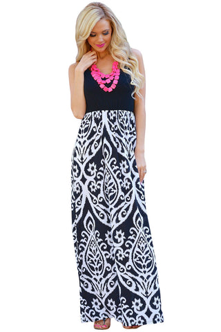 White Damask Print Sleeveless Long Boho Dress