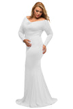 White Off-shoulder V Neck Long Sleeve Plus Long Dress