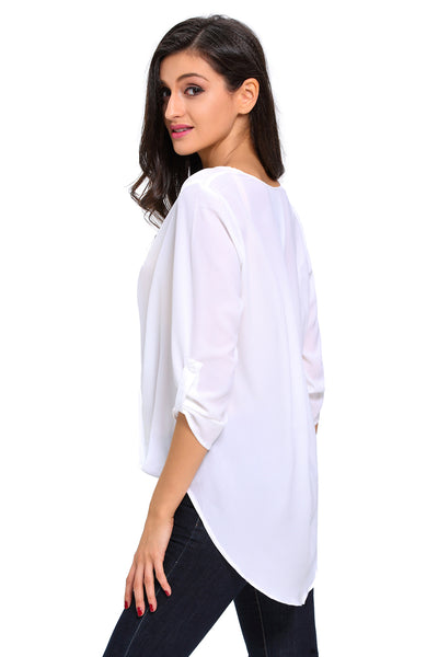 White V Neck Ruffle Loose Fit Blouse Top