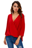Wine V Neck Ruffle Loose Fit Blouse Top