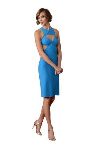 Sexy Cut Out Little Blue Midi Dress