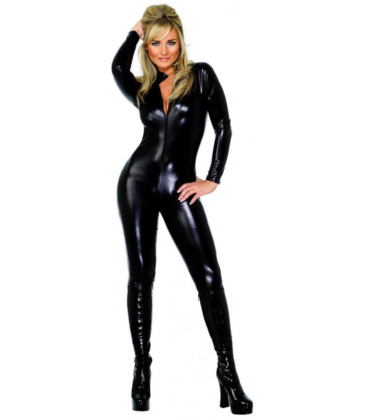 Luxe leather Front to Crotch 2 Way Zipper Club Jumpsuit Bodysuit with Gloves